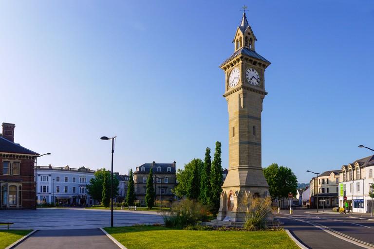 The Prince Albert memorial clock at Barnstaple, Devon, England.