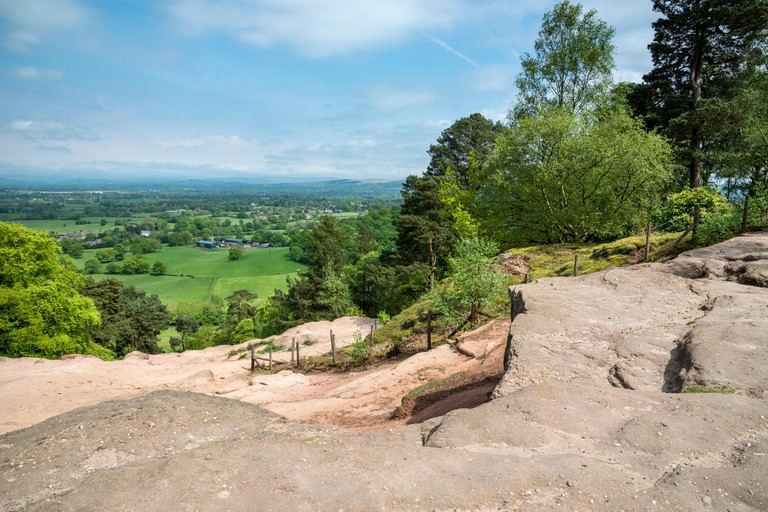 View from Stormy point at Alderley edge. View of the Cheshire countryside on a summer day.