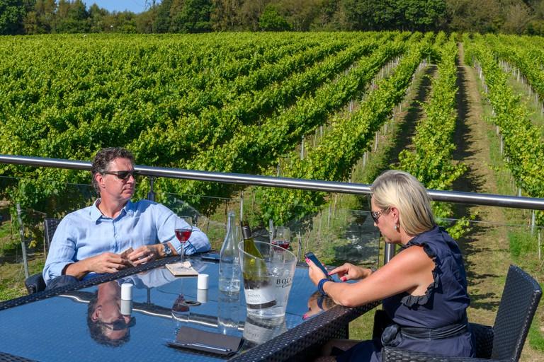 A middle aged couple enjoying wine at the Bolney Wine Estate - Vineyard - Bolney, Haywards Heath, West Sussex, England, UK