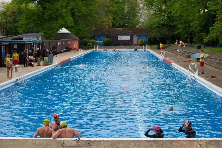 Cambridge, UK. 18th May 2013. The season's opening of the Jesus Green Lido Cambridge. The outdoor swimming pool on Jesus Green is 90 years old this year and was opened today by the Mayor of Cambridge Sheila Stuart, who also took a dip in the pool. The wat