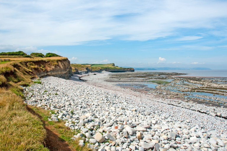 View from Kilve Beach and coast path towards St Audries Bay Blue Anchor Bay And Minehead, Somerset, South West England. Image shot 08/2013. Exact date unknown.