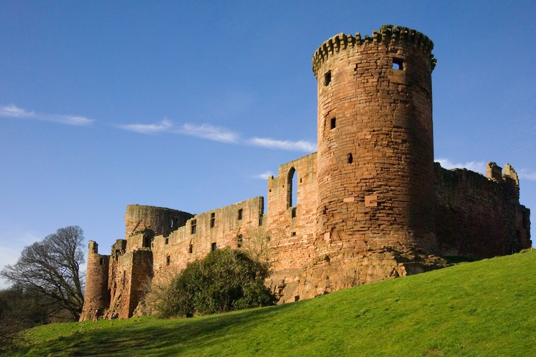 bothwell castle by clyde river glasgow  in lanark with donjon tower