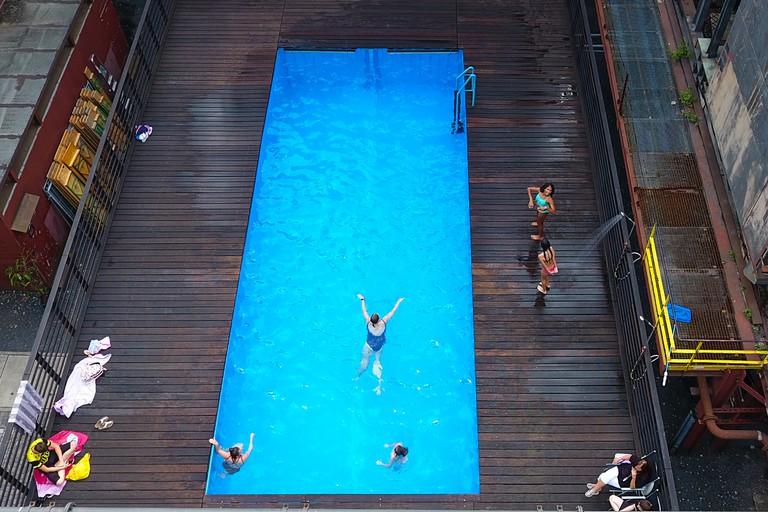 The 'Werksschwimmbad' swimming pool at Zeche Zollverein in Essen, western Germany