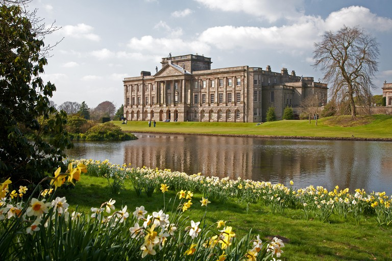 Lyme Park House, Disley, Cheshire, England. Managed by the National Trust, it was used in the BBC adaptation of Jane Austen's Pride and Prejudice.