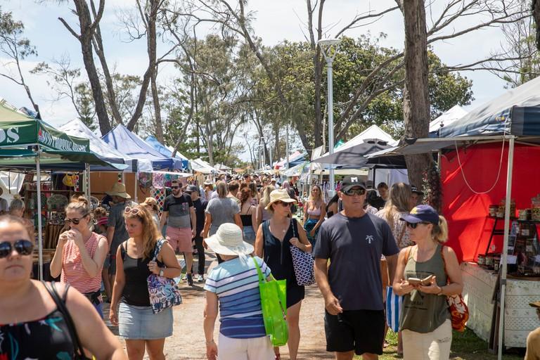 Australian market day at Byron Beach, seaside town on a summers day,Australia