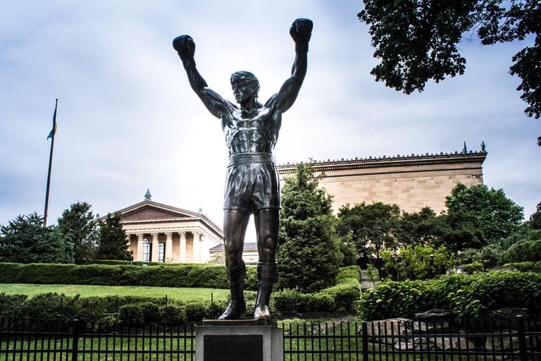 The world famous Rocky Statue next to the 'Rocky Steps', Eakins Oval, Philadelphia, USA