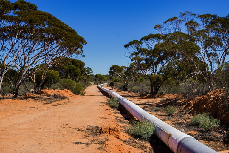 The water pipeline from Perth to Kalgoorlie near the town of Merredin Western Australia