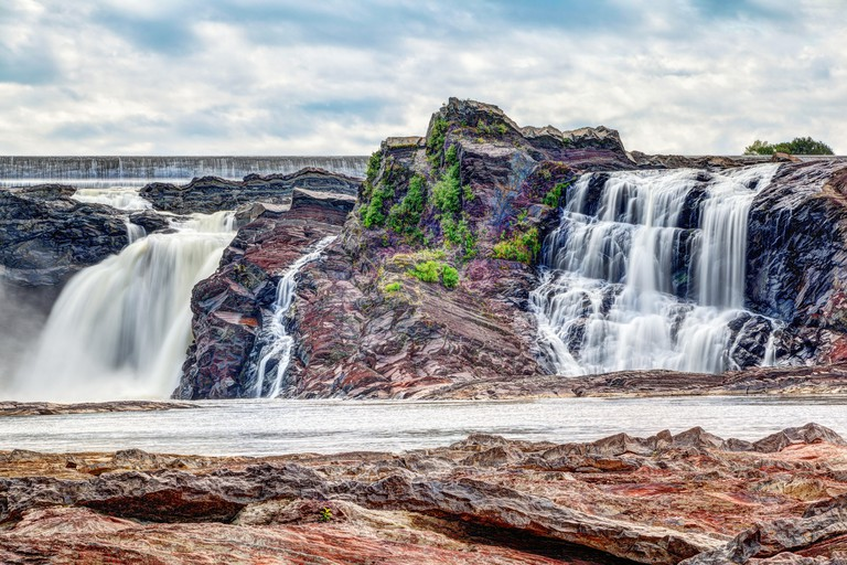 Chutes-de-la-Chaudiere or Chaudiere Falls are 35-meter high waterfalls in Levis, Quebec, that are the last and most impressive jolt of the Chaudiere R