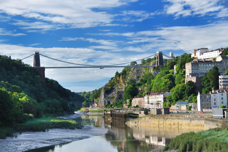 UK Bristol River Avon Clifton Suspension Bridge Spanning Avon Gorge