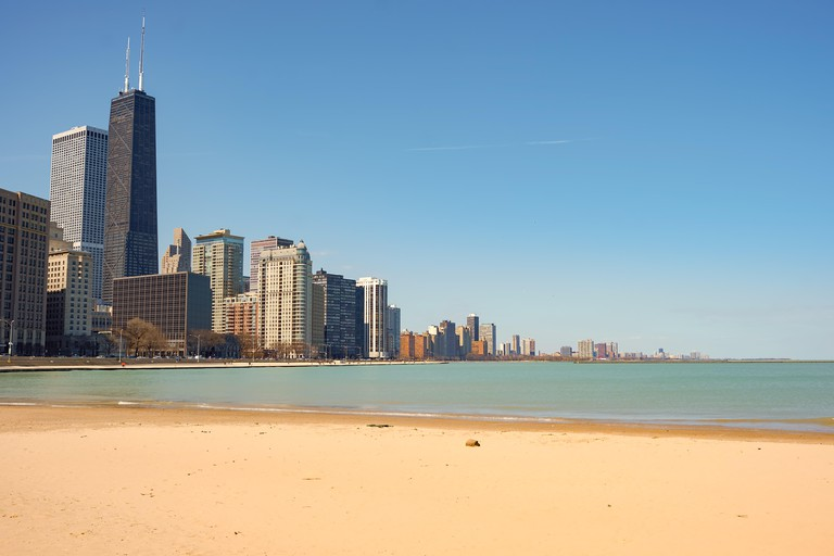 CHICAGO, IL - CIRCA APRIL, 2016: Ohio Street Beach in the daytime. Ohio Street Beach located in Lincoln Park adjacent to Addams Memorial Park and Oliv