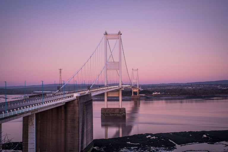 The first Severn bridge carries the M48 across the Bristol Channel to Wales.