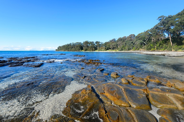 View of Shark Net Beach at Huskisson in picturesque Jervis Bay, South Coast, New South Wales, NSW, Australia