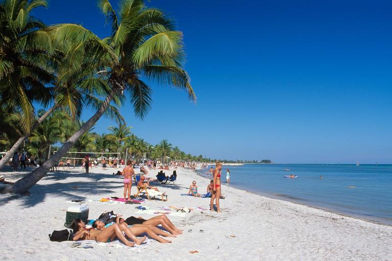 Beach scene, Smathers Beach, Key West, The Keys, Florida, USA