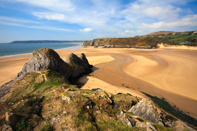 Three Cliffs Bay on the Gower Peninsular in South Wales captured from the cliffs to the East of the beach.