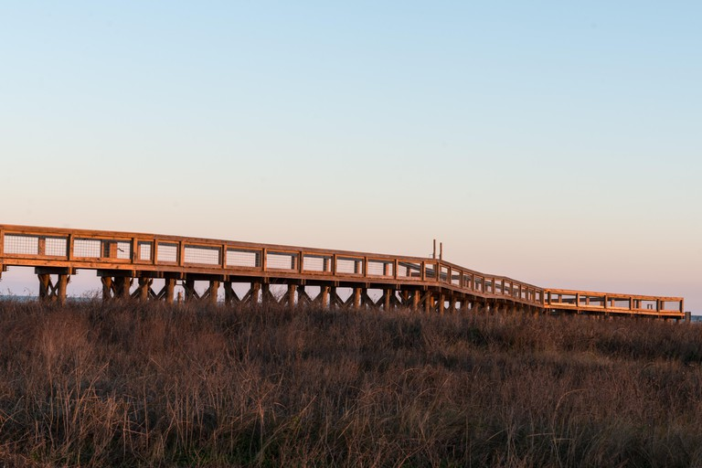 Viewing walkway amid the marshland of Sea Rim State Park in far-southeast Texas