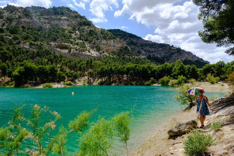 La Isla el Chorro, Malaga Lakes, Ardales natural park, Malaga, Andalucia, Costa del Sol, Spain, Europe