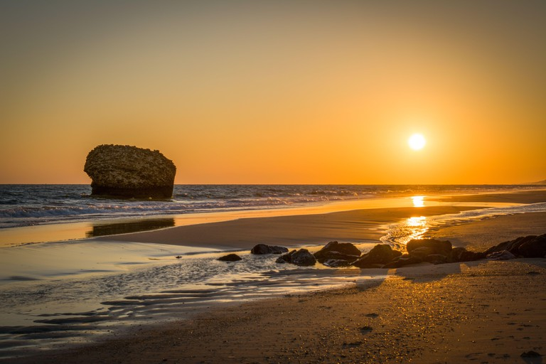 Sunset on the beach of Matalascanas, located in the province of Huleva, Spain.