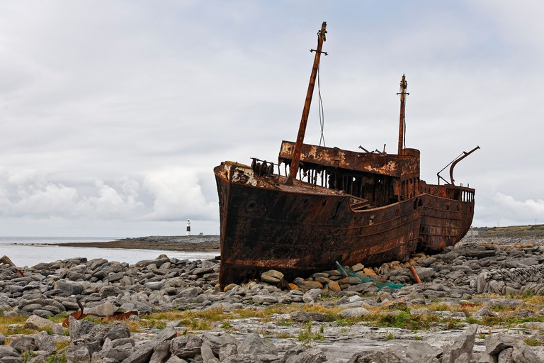 The wreck of the Plassy which stranded on the Finnish Rock (1960), Inis Oirr, Aran Islands, Ireland