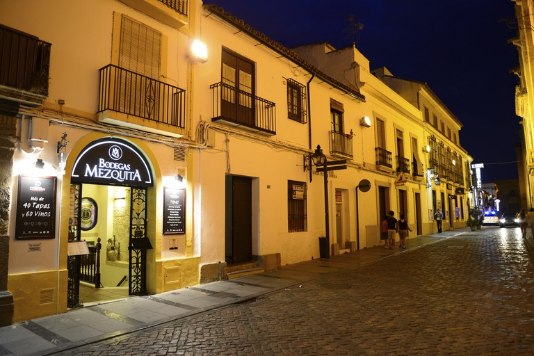 Streets and bars of the old town of Cordoba, Andalucia, Spain.