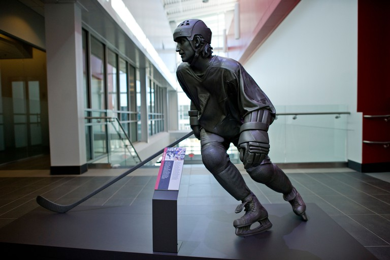 Exhibits at Canada's Sports Hall of Fame in Calgary Alberta.Wayne Gretsky statue. Image shot 2011. Exact date unknown.