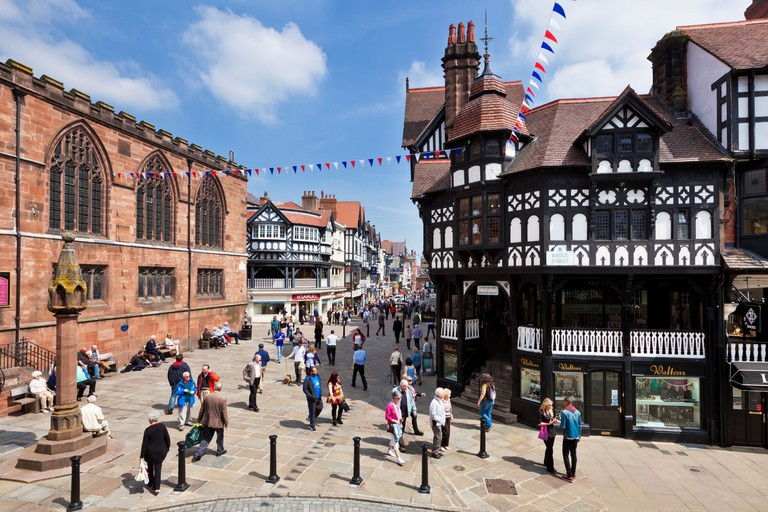 Chester Rows covered medieval era walkways Chester Cheshire England UK GB EU Europe