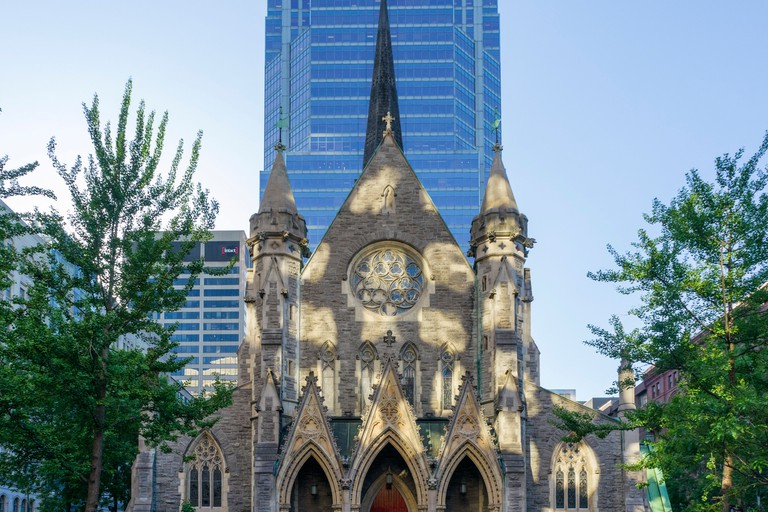 The facade of Christ Church Cathedral from Saint Catherine Street West, Montreal, Quebec, Canada