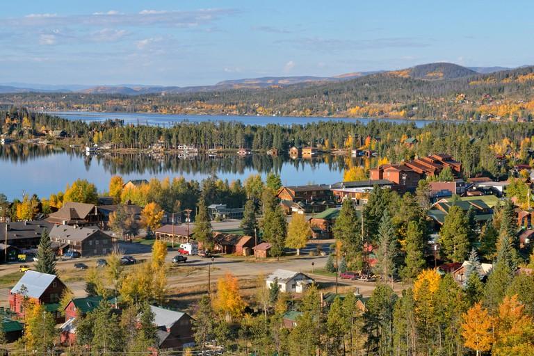 Grand Lake, the lake and the small town of the same name, Colorado, USA