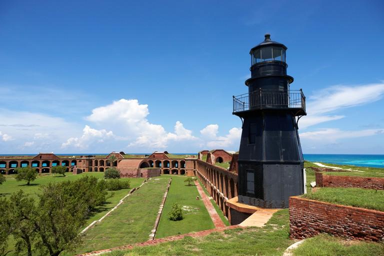 garden key lighthouse terreplein and interior soldiers barracks on fort jefferson dry tortugas national park florida keys usa