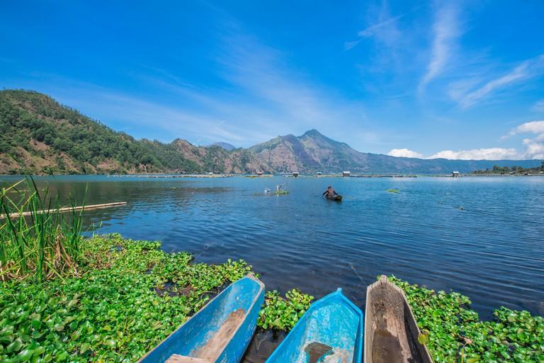 Lake Batur, Fishermen, Bali, Indonesia