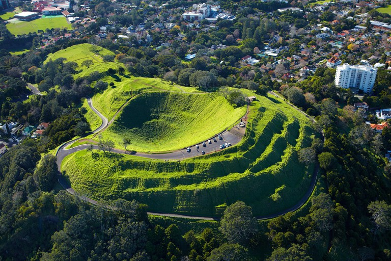 Volcanic crater, Mt Eden, ( historic Maori pa site ), Auckland, North Island, New Zealand - aerial
