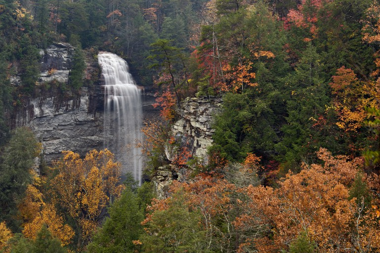 View of Fall Creek Falls and Autumn Color in Fall Creek Falls State Park, Tennessee