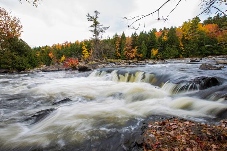Spectacular, colorful autumn landscape in  Parc Regional de la Riviere-du-Nord, Canada, Quebec