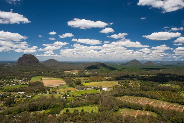 A view across the Glass House Mountains National Park near Brisbane, Queensland, Australia