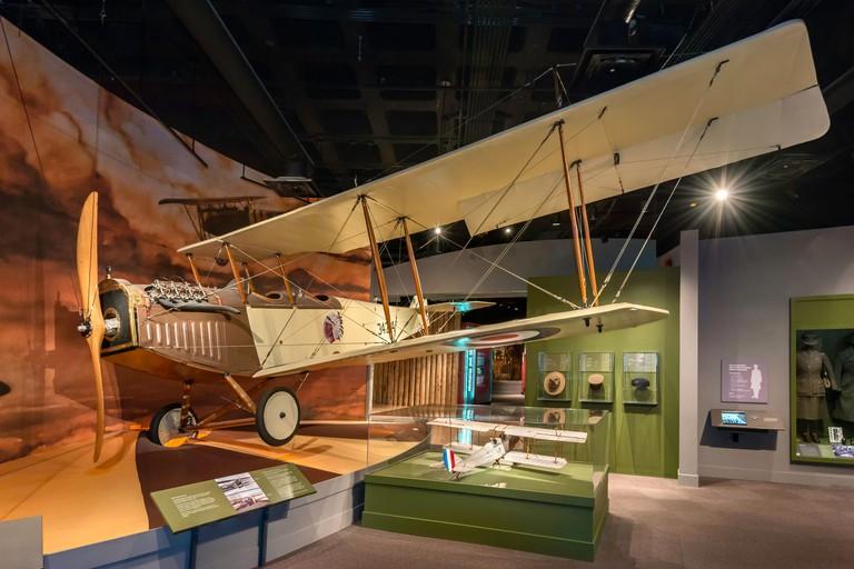 Curtiss Jenny JN4-D airplane replica at Glenbow Museum in Calgary, Alberta, Canada