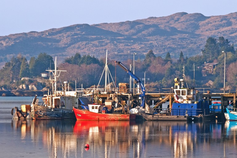 Fishing boats moored alongside the pier in Glengarriff Harbour, County Cork, Ireland