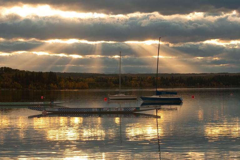 Boats on the Glenmore Reservoir in Calgary Alberta Canada