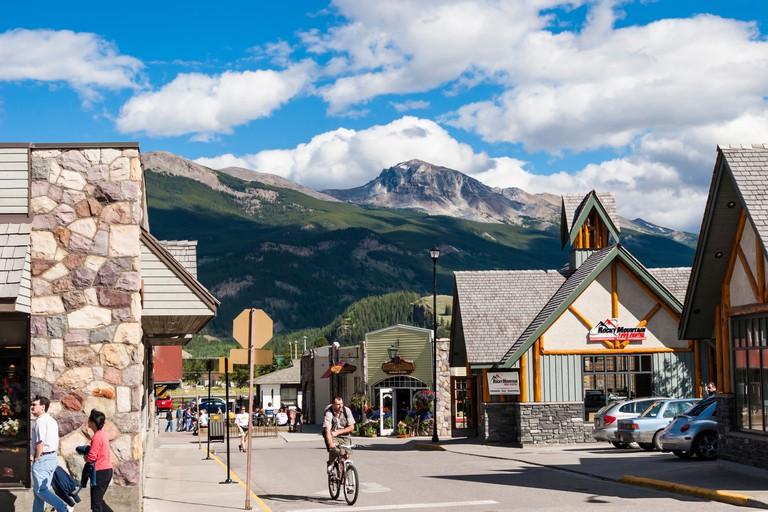Downtown Jasper in Jasper National Park in Alberta, Canada.
