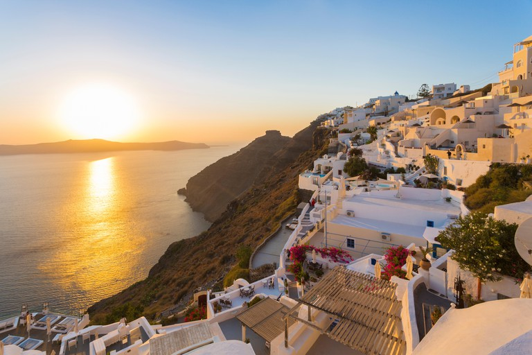 Imerovigli in the evening, called 'the balcony to the Aegean' for its sunset