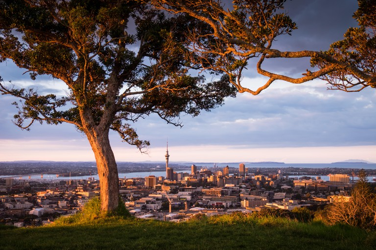 A view Auckland at sunset from the remnant volcano, Mt. Eden.