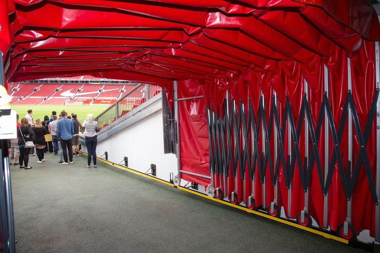Football tunnel at Old Trafford stadium, Manchester United's home ground, during an Old Trafford Tour.