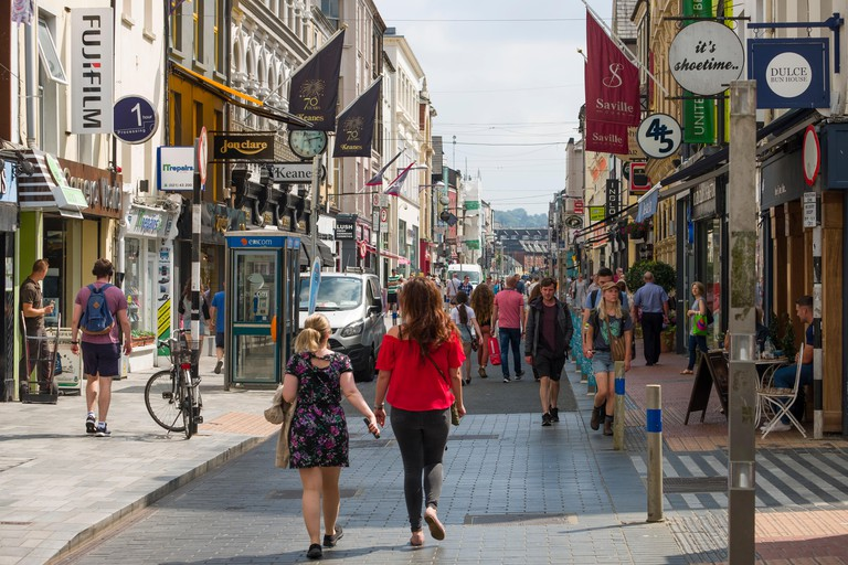 People walking on Oliver Plunkett Street, Centre, Cork, County Cork, Munster, Ireland
