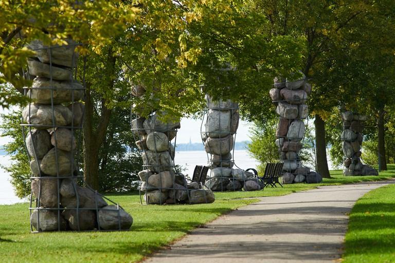 Lachine,Canada 27, September, 2018.Public art display on Rene-Levesque park.Interlude sculpture by artist David Moore.Credit:Mario Beauregard/Alamy Li