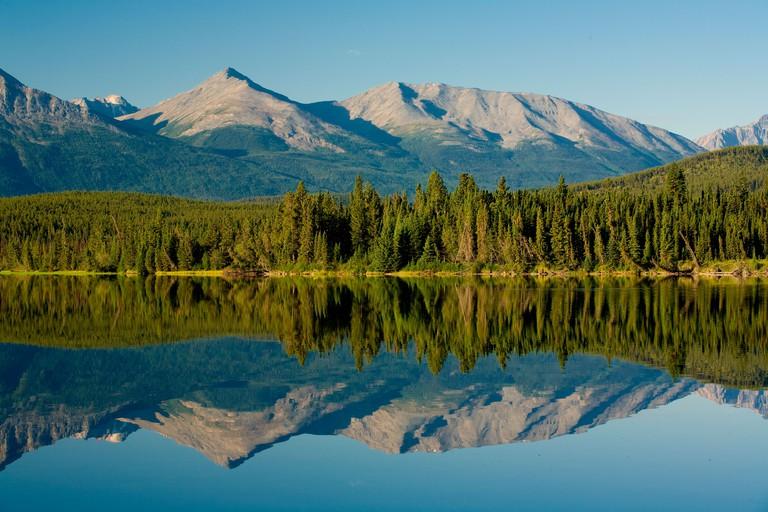 early morning light on Pyramid mountain, Pyramid Lake, Jasper National Park, Alberta, Canada