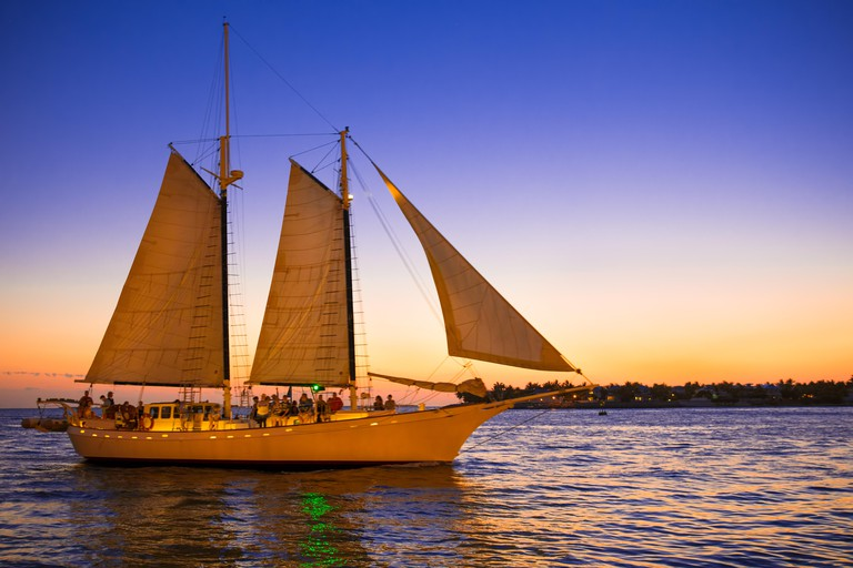 Beautiful sailboat at sunset seen from Key West Florida