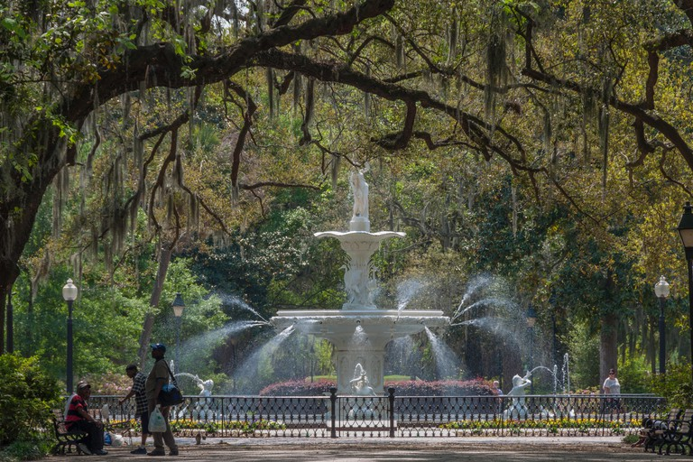 Savannah, Georgia - March 29, 2012 - This large fountain is at the north end of Forsyth Park in the historic district of Savannah.