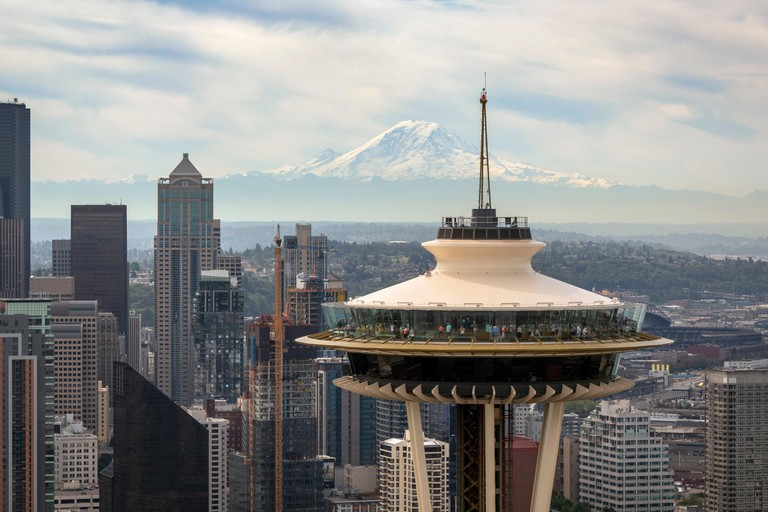 aerial view of the Space Needle, Seattle, Washington State, USA