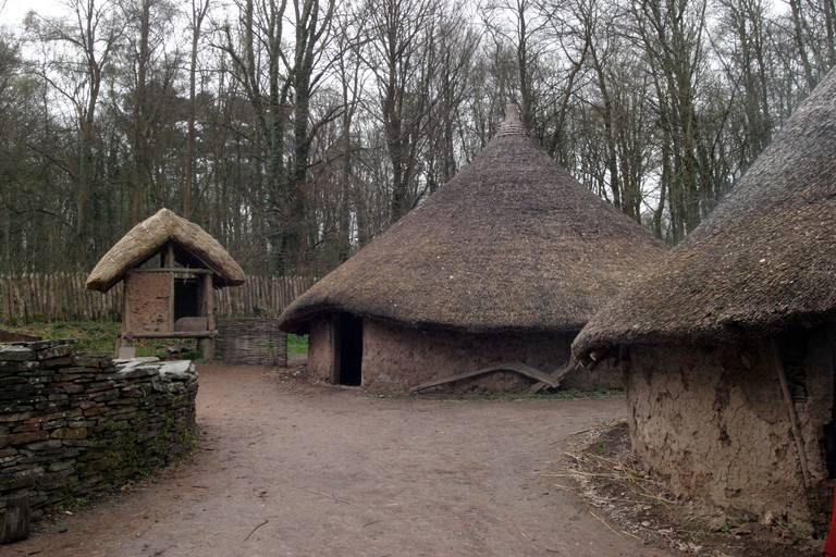 Museum of Welsh Life Celtic Village re created at St Fagans 1992 Circular Roundhouse based on excavated remains of actual b