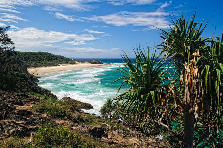 NORTH STRADBROKE ISLAND, Australia - Looking north along the beaches from Point Lookout on Stradbroke Island, Queensland's most easterly point. North Stradbroke Island, just off Queensland's capital city of Brisbane, is the world's second largest sand isl