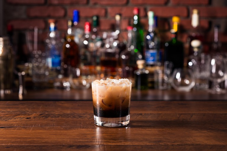 Refreshing White Russian Cocktail on a Bar