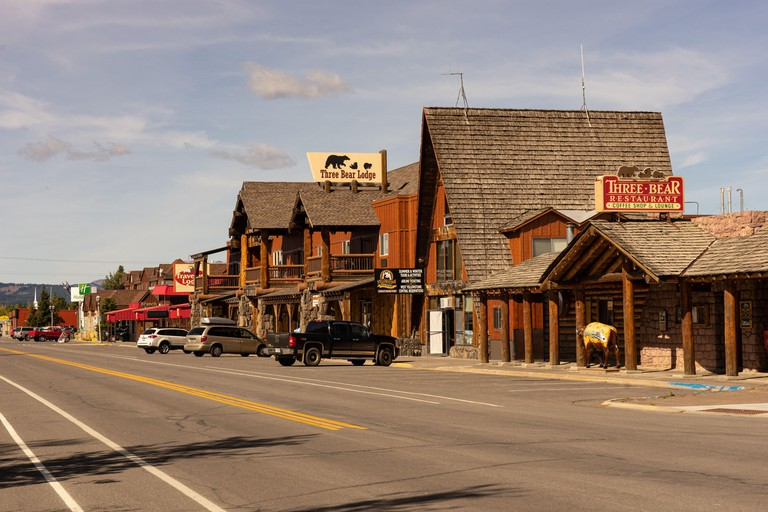 Strasse in West Yellowstone Montana USA